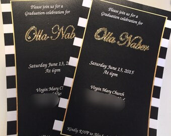 Black and White Striped Gold invitations