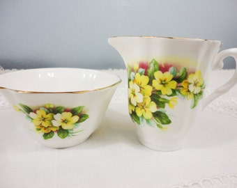 Royal Grafton Yellow Flower Bone China Creamer and Sugar
