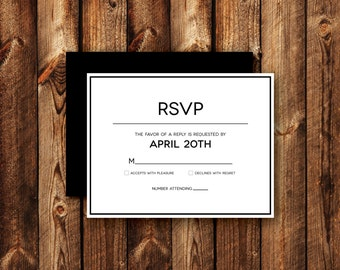 Modern Clean Contemporary Frame Border RSVP Reply Card Wedding Invitations Printable or Printed Black and White