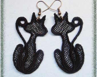 Black, Cats, Earrings, Cute, Kitties, Embroidery, Lace, Festival, Embroidered