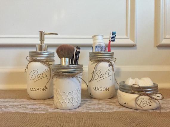 jar bathroom set 4 set by homespunnc on etsy