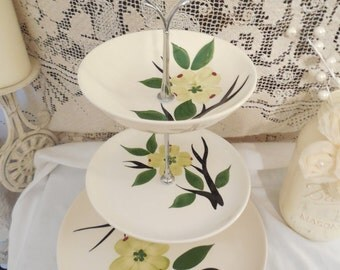 3 Tier Cupcake Stand, 3 Tier Cake Stand, 3 Tier Dessert Stand, 3 Tier Treat Stand, 3 Tier Dogwood Cupcake Stand, 3 Tier Vintage Stand