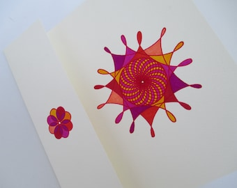 """Hand-Inked Spirograph Note Announcement Card Watercolor Inks - """"Big Top (Pink/Yellow)"""" Circus Tent [OOAK - NOT A PRINT]"""