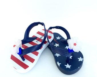 4th of july Girls flip flops, little girl flip flops, girls flip flops, beaded sandals. Size 5