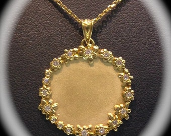 Engravable 14K Yellow Gold Necklace with diamonds.