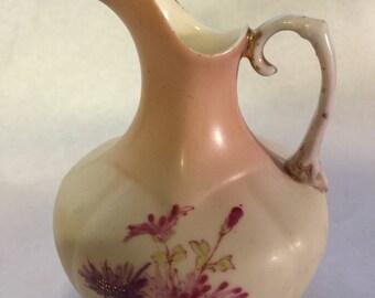 Vintage Decorative Pitcher Vase with Pink Floral Design and Gold Trim