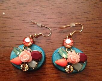 Beautiful flower jewel earrings