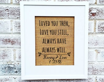"Romantic anniversary gift,""loved you then love you still always have always will"", personalized gift for wife husband, 25th 5th 1st, party"