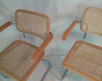 Marcel Breuer style arm chairs Italian beech + chrome Cesca chairs cane kitchen arm chair pair