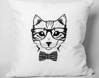 Hipster cushion: cat with glasses