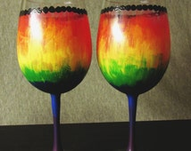 hand painted wine glasses-tie dye wine glasses-set of 2