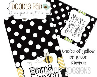 Black Diaper Bag Tag, Personalized Luggage Tag,  Kids Luggage tag