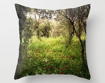 Poppies pillow, poppies cushion, photography cushion, photography pillow, green decor, throw pillow, landscape, pillow cover, green pillow