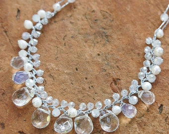 White stone mix Necklace, Beadwork necklace, bridesmaids gifts