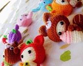 Amigurumi Rainbow Set,mini crochet doll,fruit,duck,dog,strawberry,bunny,cake,reindeer,squirrel,keychain,bag charm