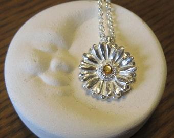 Gerbera Necklace, Gerbera pendant, African Daisy Necklace, flower pendant, sterling silver necklace