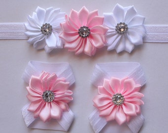 Set of Baby Girl Infant Headband & Baby Foot Flower Shoes Barefoot Sandals Footwear Free Postage