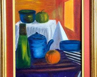 "Naturmort #5, White Tableclote, 16"" x 18"", Original Fine Art OIl Painting"