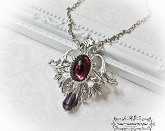 Royal Fleur de Lis Silver Necklace-Silver Necklace with Gem-Victorian Gothic Necklace-Victorian Gothic Jewelry-Silver necklace
