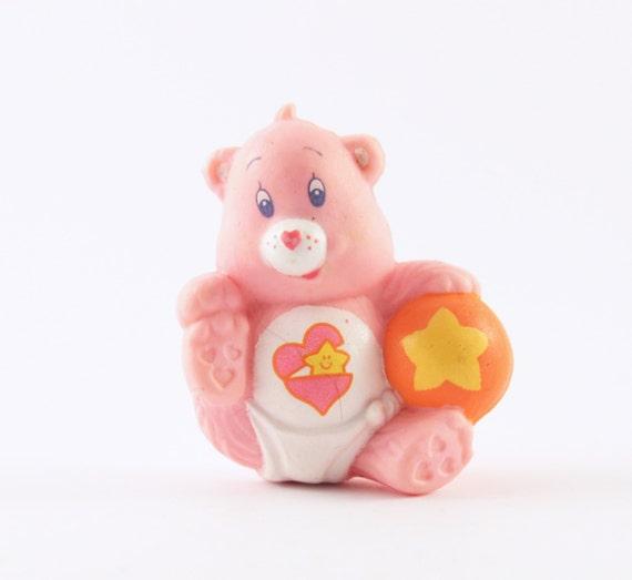 BABY HUGS Bear Pink Care Bear Mini Figure with Ball 1980s