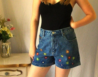 1990's No Excuses Flower Power Denim High-Waisted Shorts