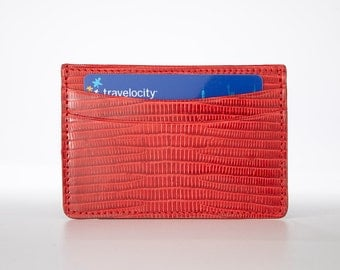 Genuine, Authentic Lizard Skin Credit Card Holder / Mini Wallet