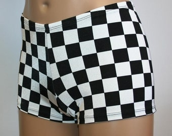 4 Designs Black and White Booty Shorts Checker Flag Race Diamond Stripe Triangle Nascar Dance Cheer Gym Rave Custom Hot Boy Shorts Pole
