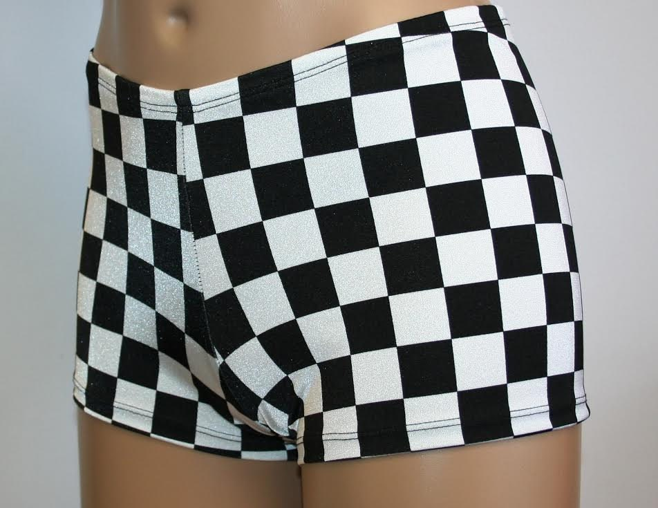 4 Designs Black and White Booty Shorts Checker Flag Race