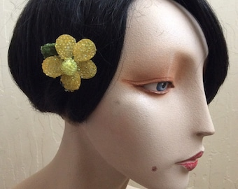 BEADED YELLOW Beautiful and Fun Sparkly Floral Daisy Flower Hairclip... Wedding... Bridal... Bridesmaids... VLV... Anytime Hair Clip