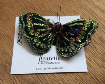 GREEN GLITTER Fancy and Festive Sparkly Feather Butterfly Hairclip... Wedding... Bridal... Bridesmaids... VLV... Anytime Hair Clip