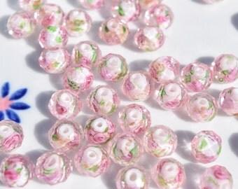 Pink glass beads | 25 lampwork beads | murano lampwork beads | lampwork beads | 10 mm murano beads | glass flower beads