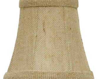 Upgradelights® 4 Inch English Barrel Chandelier Lamp Shade in Natural Burlap