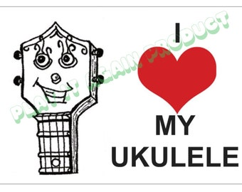 I Love (heart) My Ukulele postcard original design