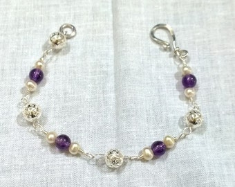 Amethyst and Akoya Pearl Filagree Sterling Silver Bracelet! Wow!