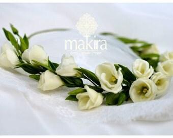 Bridal flower crown,  bridal white crown, eustoma ivory crown, wedding flower crown, bridal headpiece, woodland crown, clay flower headpiece