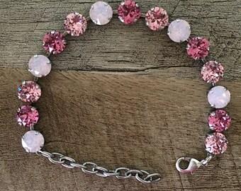 Swarovski Crystal 8mm Bracelet (Pink Tones)