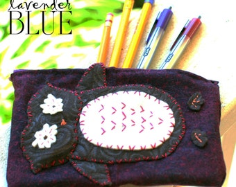 Owl Pencil Case Purple