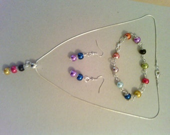 Multi coloured Necklace, earrings and bracelet set