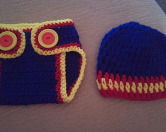 crochet superman inspired hat and diaper cover