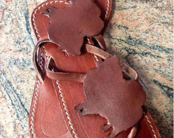 Pomeranian Spitz Dog shoes flip flops summer handmade leather