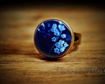 Blue Flower Vintage Rings Womens Ring Retro Woodland Statement Ring Adjustable Boys Kid Novelty Wedding Bridesmaid jewelry gift for her