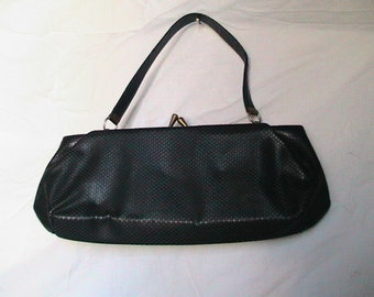 Vintage 1960's Two Handbags - Black Patent & Black Leatherette.