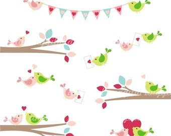 Lovely Cute LOVEBIRD Clipart Vector  Instant Download