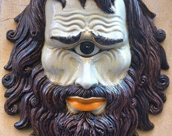 Giant Italian ceramic Cyclopes Mask