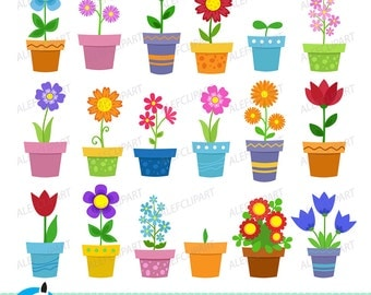 50% OFF SALE Clipart Flowers in pots - clip art. Digital clipart . Instant Download