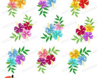 Hibiscus clipart  Hibiscus Bundle Digital Clipart, Hawaiian Flower Clipart