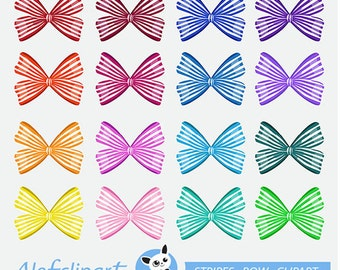 50% OFF SALE Ribbons, Stripes Bow Digital Clipart  Ribbon clip art