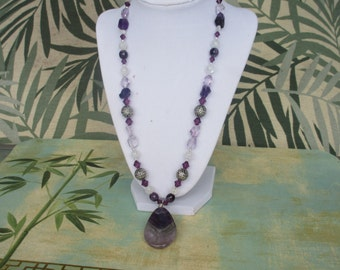 Amethyst and Moonstone Long Necklace