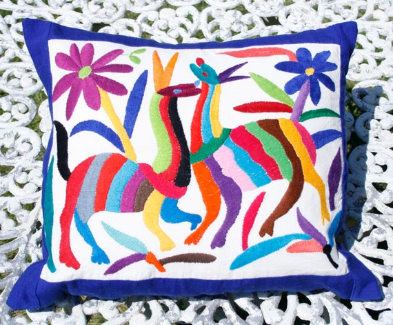 Mexican embroidered pillow cover