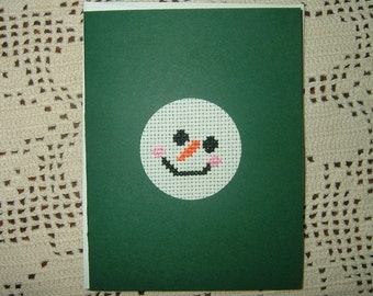 Completed/Finished Handmade Cross Stitched Card~Snowman Face